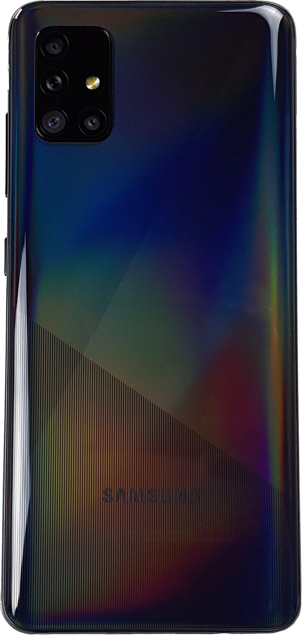 Samsung Galaxy A51 visto de atrás.