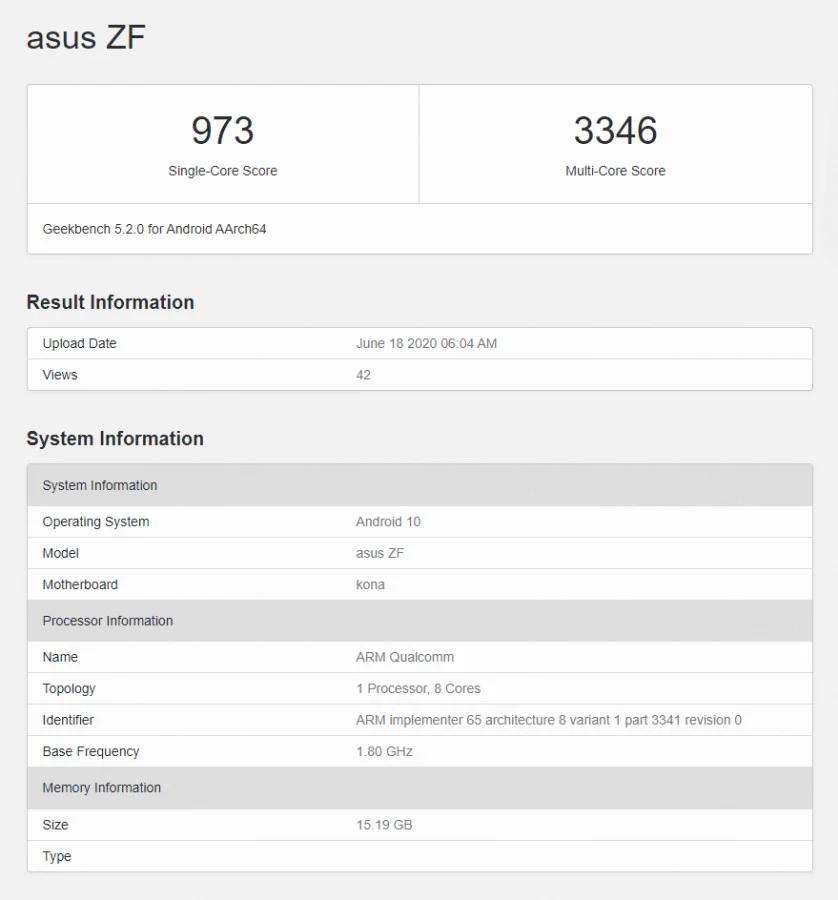 ASUS Zenfone 7 Geekbench