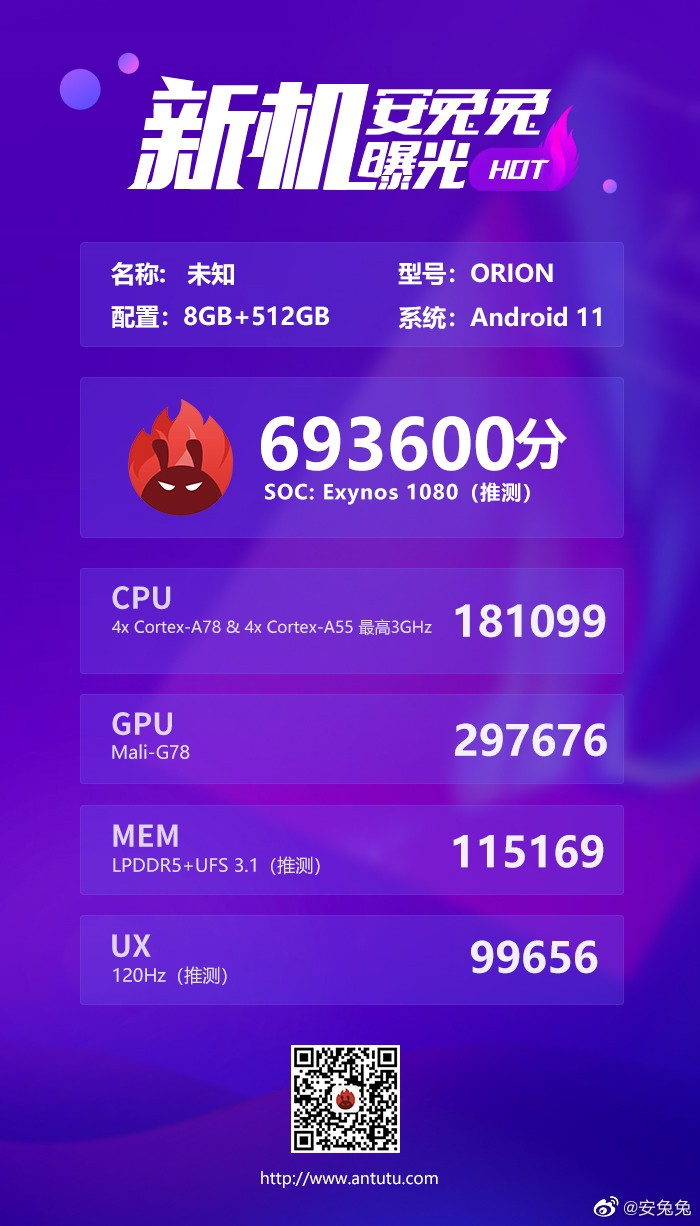 Samsung Exynos 1080 en AnTuTu