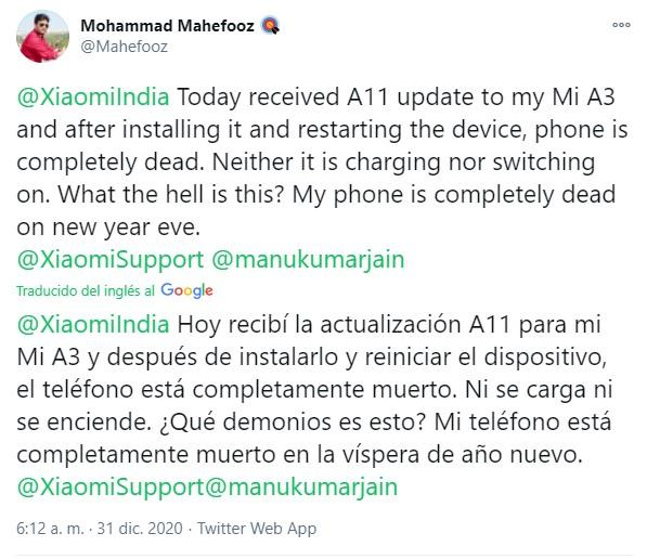 Xiaomi Mi A3 actualiza a Android 11 y trae problemas