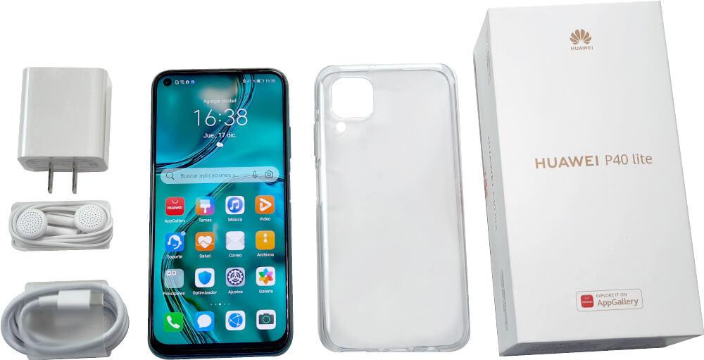Huawei P40 Lite y sus accesorios.