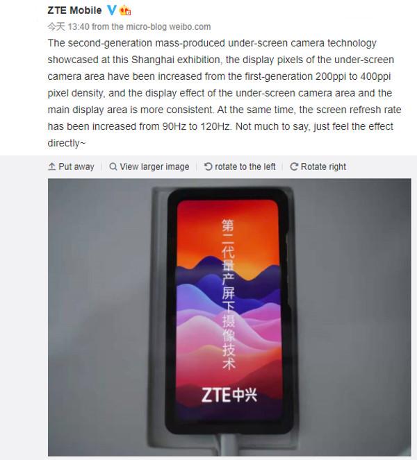 ZTE muestra la segunda generación de cámara debajo de la pantalla