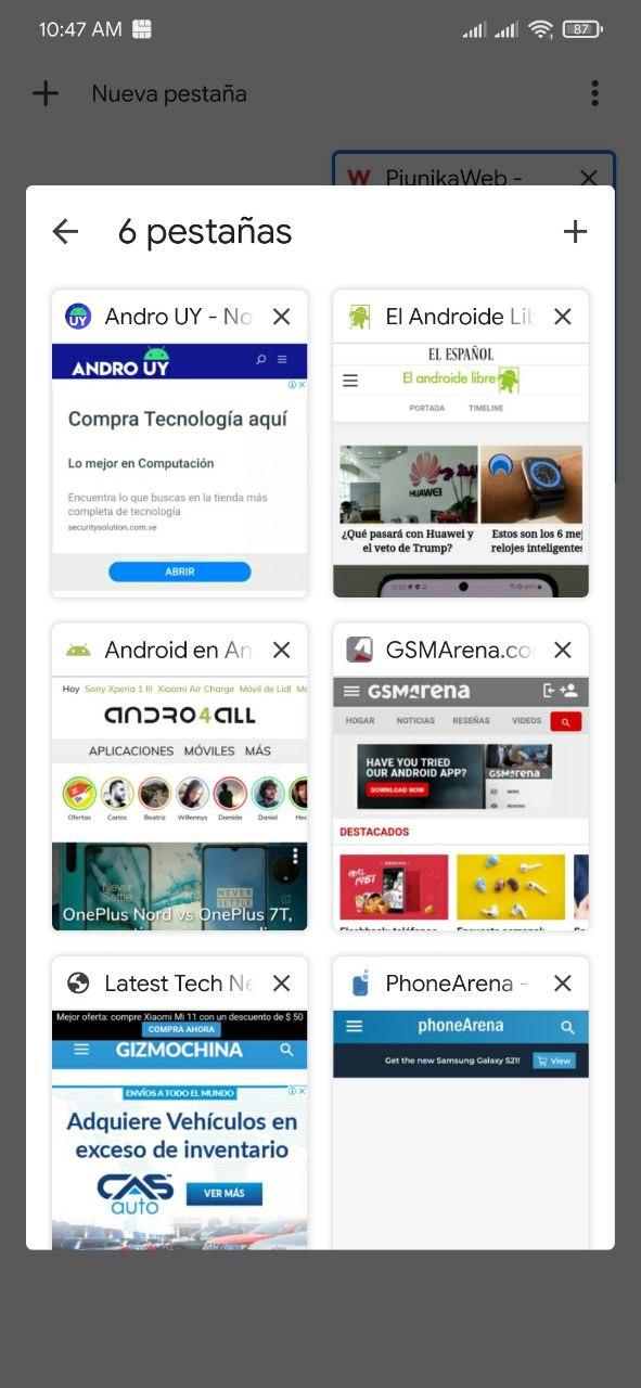 Nuevas pestañas de Google Chrome